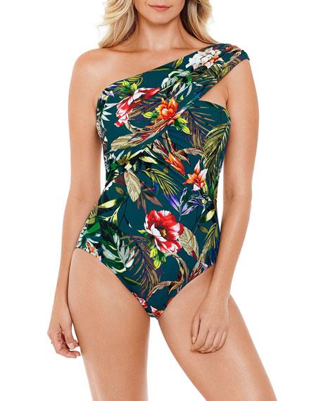 Magicsuit Goddess Floral One-Shoulder One-Piece Swimsuit