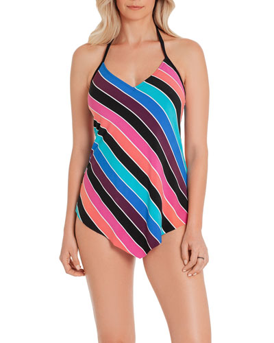 Gayle Striped Halter Tankini Top