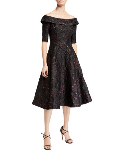 Jacquard Tea-Length Dress