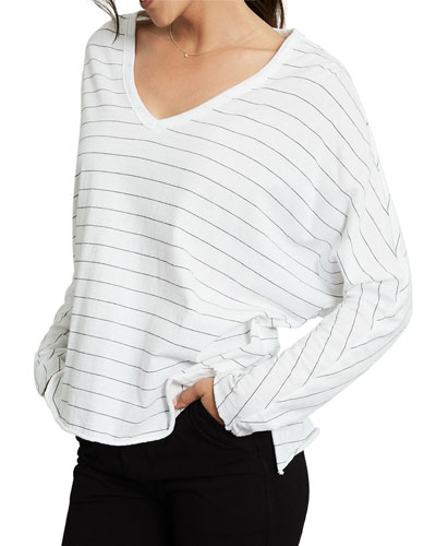 Striped V-Neck Long-Sleeve Tee