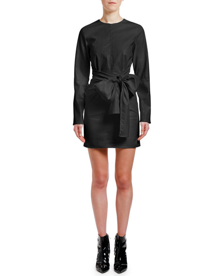 MSGM Abito Embossed Faux Leather Bow-Waist Dress