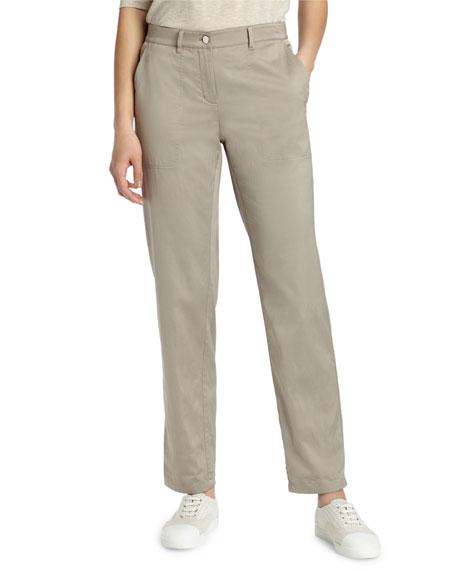 Lafayette 148 New York Fulton Straight-Leg Satin Cloth Pants