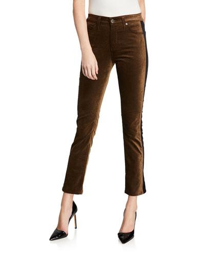 Mari Straight-Leg Tuxedo Stripe Jeans