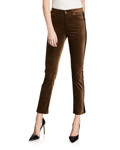 AG Adriano Goldschmied Mari Straight-Leg Tuxedo Stripe Jeans