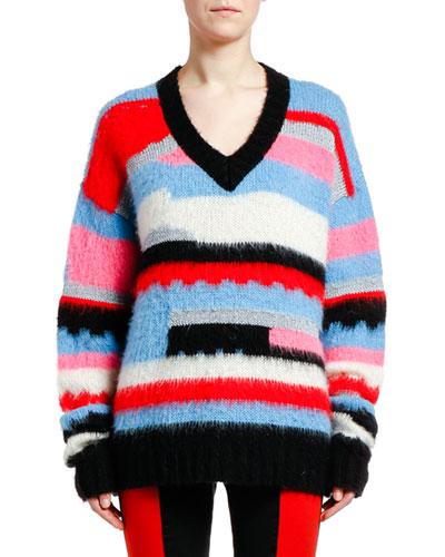V-Neck Mohair-Blend Pullover Sweater