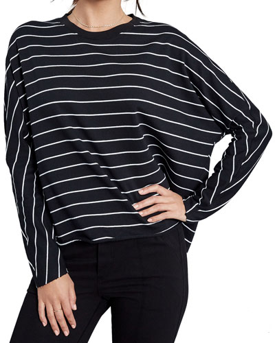 Striped Oversized Continuous-Sleeve Sweatshirt