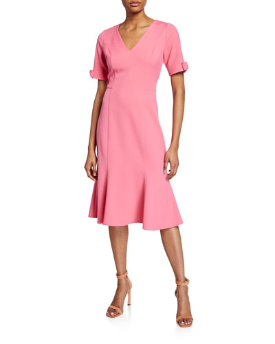 Laney V-Neck Bow-Cuff Crepe Dress