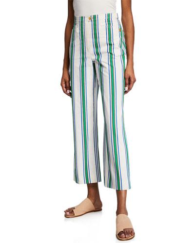 Striped Cotton Straight-Leg Pants