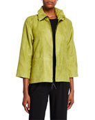 Caroline Rose Modern Faux Suede Zip-Front Jacket with