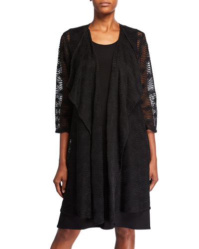 Plus Size Textured Long Draped Open-Front Cardigan