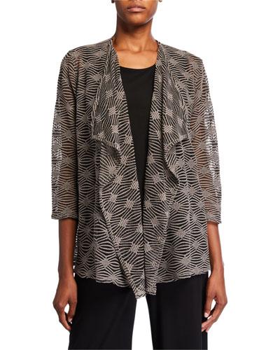 Plus Size Tonal Textured Long Draped Cardigan