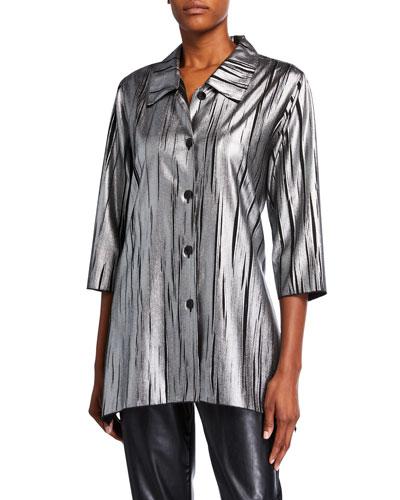 Plus Size Button-Front Silver Streak Swing Shirt