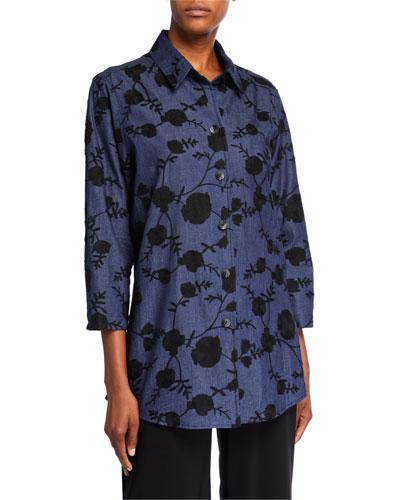 Embroidered Denim Boyfriend Shirt