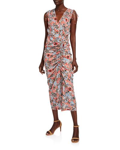 Teagan Floral Ruched Tie-Shoulder Sleeveless Dress