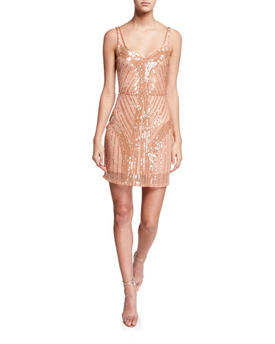 Lauren Beaded Mini Cocktail Dress