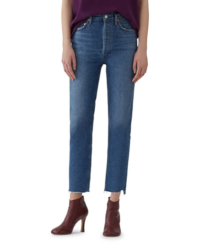 Riley Crop High-Rise Straight Jeans