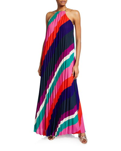 Plume Striped Pleated Maxi Halter Dress