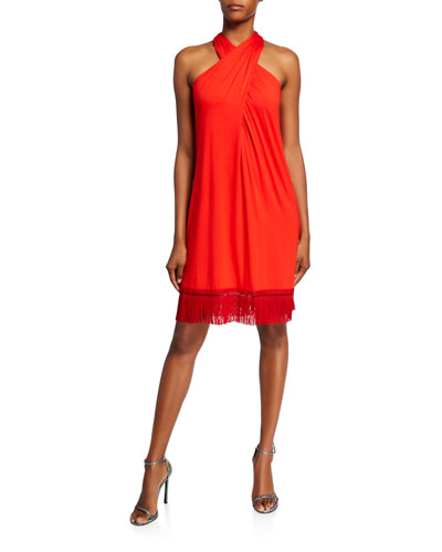 Sumatra Fringe-Hem Halter Dress