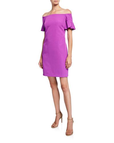 Modern Off-the-Shoulder Ruffle-Sleeve Sheath Dress