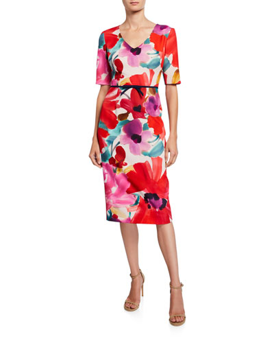 Mid Century Floral V-Neck Short-Sleeve Sheath Dress