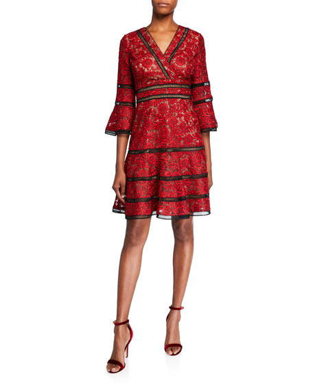 Shani Surplice Neckline Bell-Sleeve Lace Dress