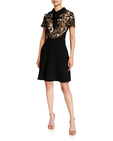 Shani Floral Applique Fit-&-Flare Dress with Collar