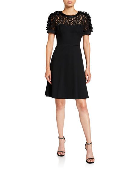 Shani Short-Sleeve Fit-&-Flare Dress with Flower Appliques