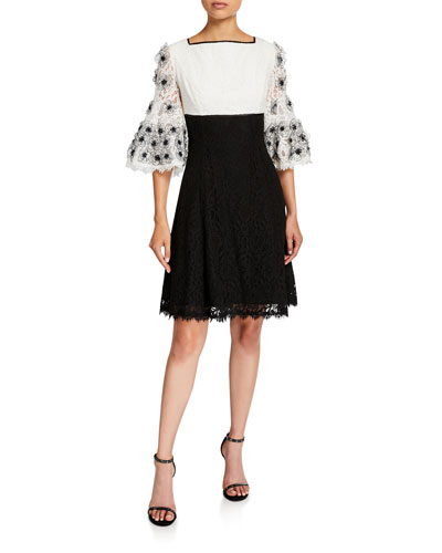 Colorblock Fit-&-Flare Lace Dress with Floral Sleeve Applique