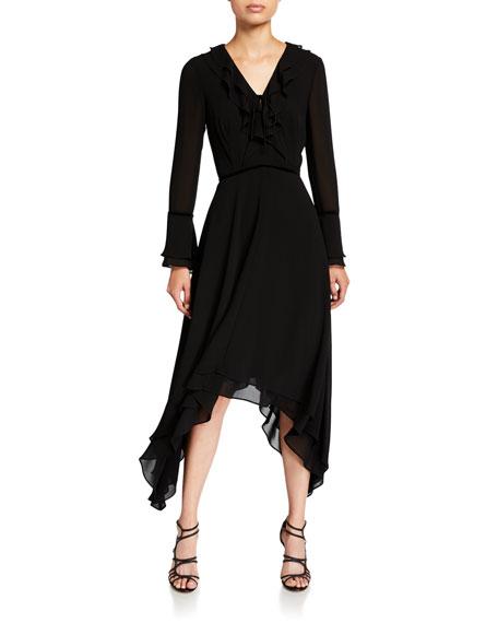 Shani V-Neck Long-Sleeve Hanky Georgette Ruffle Dress