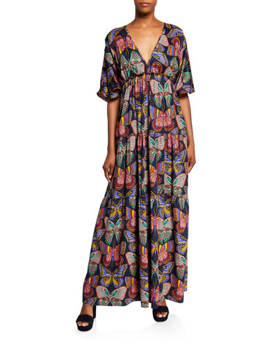 Arco Iris Butterfly Puff-Sleeve Maxi Dress
