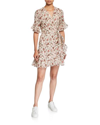 Kaitlyn Floral Ruffle-Trim Mini Wrap Dress