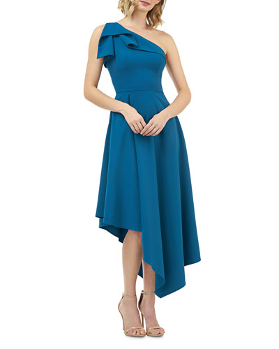 Stretch Crepe One-Shoulder Asymmetric Fit-and-Flare Dress