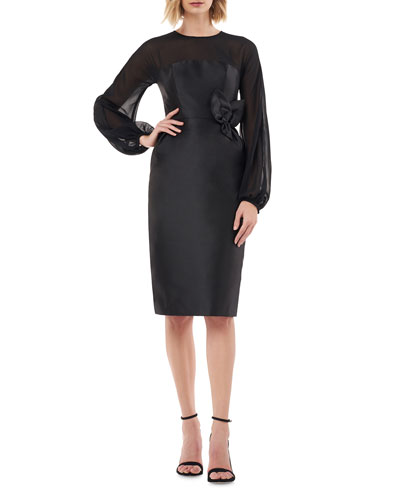 Jewel-Neck Blouson-Sleeve Mikado Sheath Dress w/ 3D Flower