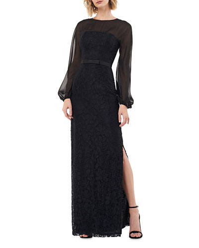 Lace Long-Sleeve Column Gown with Chiffon Illusion Bodice