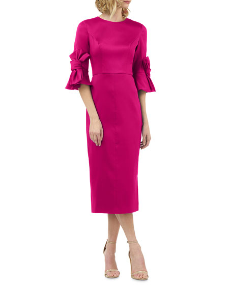 Kay Unger New York Stretch Mikado Sheath Dress with 3D Bow Details