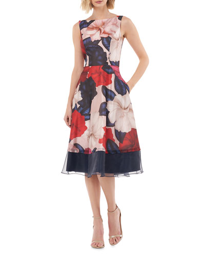 Floral Organza Boat-Neck Sleeveless Fit-&-Flare Dress
