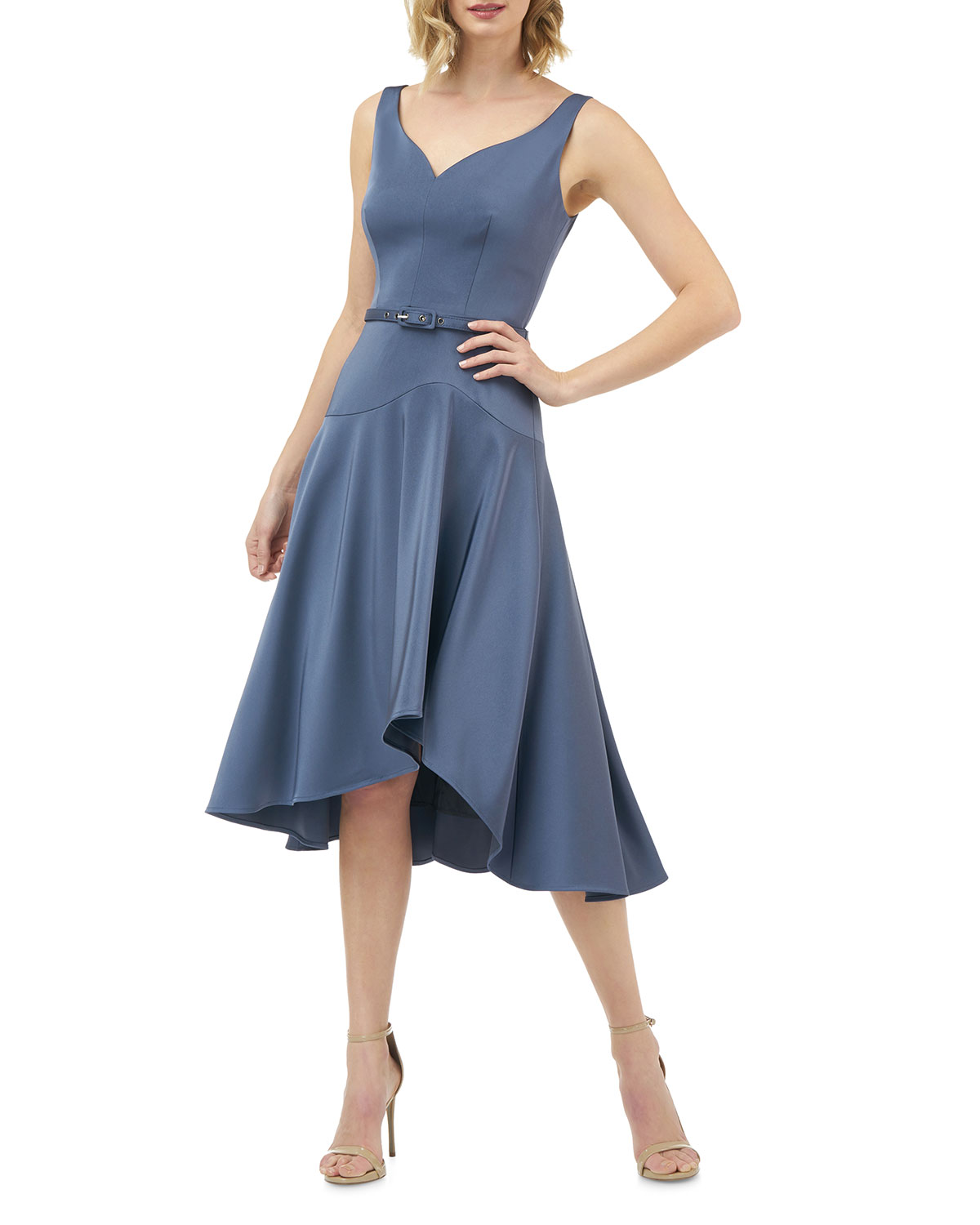 816e250e8 Kay Unger Sleeveless Belted Stretch Faille High-Low Midi Dress In Smoke Blue