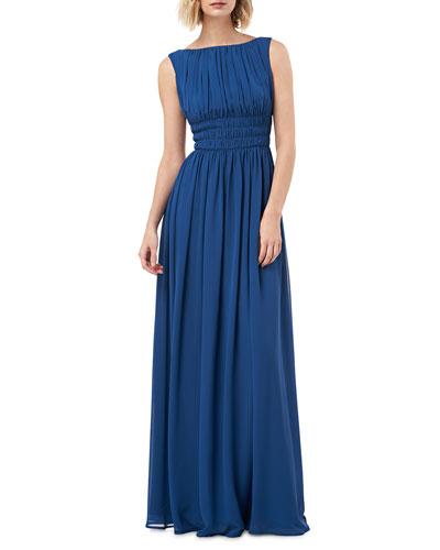Sleeveless Smock-Waist Chiffon Gown