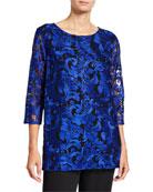 Caroline Rose Plus Size Flourish Embroidery 3/4-Sleeve Lined