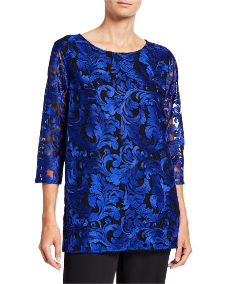 Caroline Rose Plus Size Flourish Embroidery 3/4-Sleeve Lined Tunic