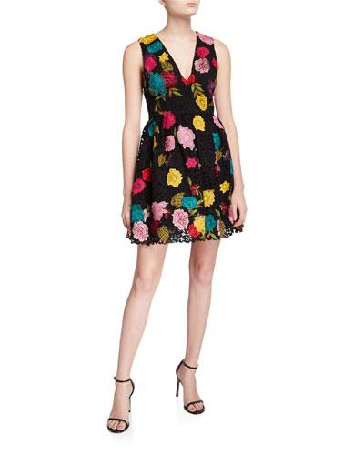 Becca Embroidered V-Neck Pouf Dress
