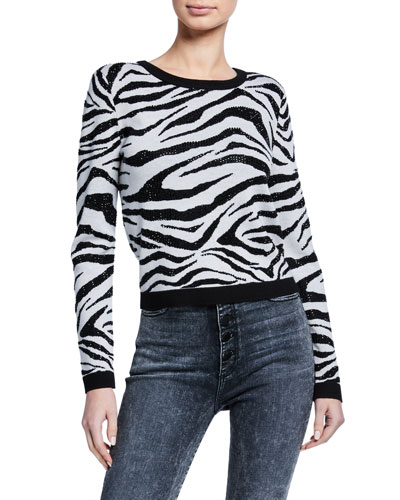 Connie Embellished Zebra Stripe Sweater