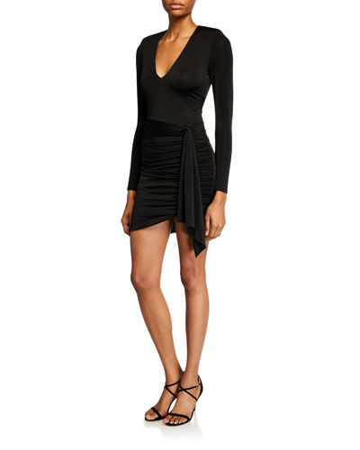 Kyra Deep V Drapey Long-Sleeve Mini Dress