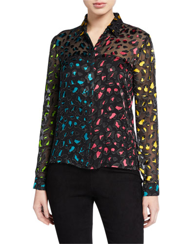 Willa Colorblock Animal-Print Button-Down Top
