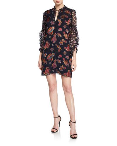 Julius Floral Ruffle-Sleeve Mini Shift Dress