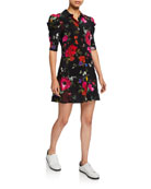 Alice + Olivia Jem Floral Gathered-Sleeve Shirt Dress
