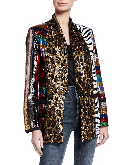 Alice + Olivia Kylie Sequin Shawl-Collar Jacket