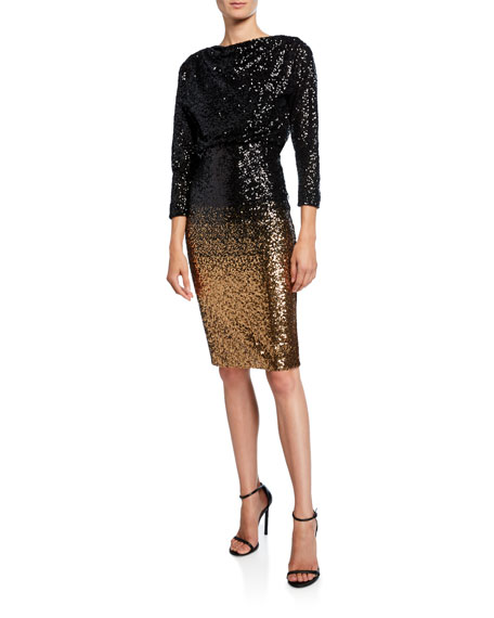 Badgley Mischka Collection Ombre Sequin Sheath Dress
