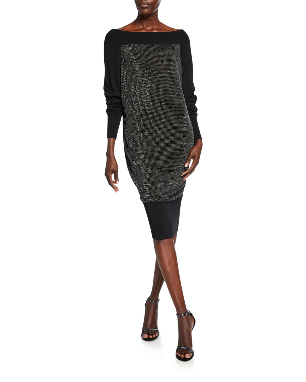 Chiara Boni La Petite Robe Dresses LONG-SLEEVE METALLIC BLOUSON DRESS