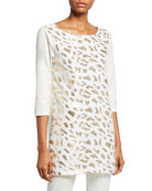 Joan Vass Petite Sequin Animal 3/4-Sleeve Cotton Interlock